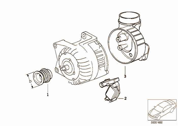 Детали генератора на 115 А BMW M3 3.2 S50 E36 Кабриолет, Европа